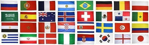 Digni Kit: Banderas de Todos los participantes CDM banderas fútbol 2018 en Rusia – 30 x 45 cm adhesivo gratis: Amazon.es: Jardín