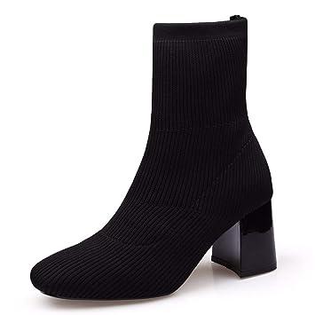 HBDLH Zapatos de Mujer/Calcetines Zapatos Coreano Joker Zapatos De Mujer Black Treinta Y Ocho