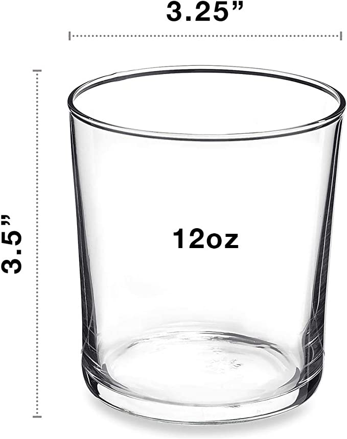 Bormioli Rocco Bodega Collection Glassware Set Of 12 Medium 12 Ounce Drinking Glasses For Water Beverages Cocktails 12oz Clear Tempered Glass Tumblers Old Fashioned Glasses Mixed Drinkware Sets
