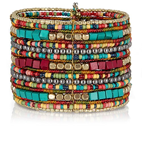 (SPUNKYsoul Bohemian Multi-Colored Beaded Cuff Bracelets for Women Collection (Teal/Red/Cube))