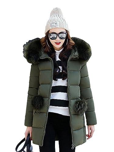 OCHENTA Mujer Abrigos Acolchado Con capucha Piel Chaquetas Nieve Casual Invierno