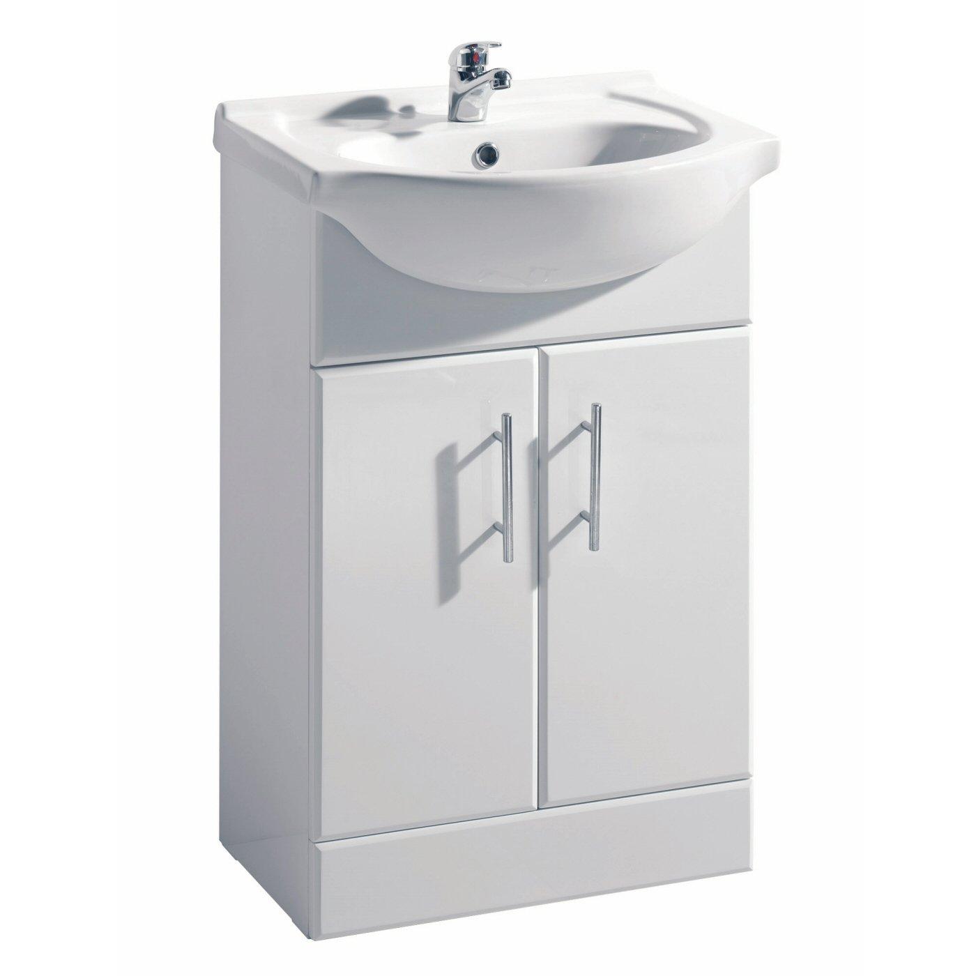 White bathroom sinks - White Gloss Bathroom Vanity Unit Basin Sink 550mm Cloakroom Storage Cabinet Ceramic Furniture 5 Year Guarantee Amazon Co Uk Kitchen Home