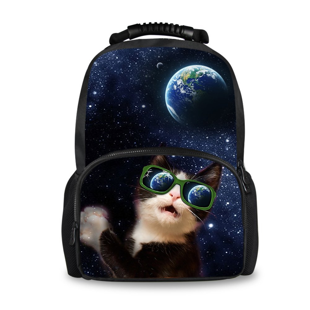 Instantarts Universe Cat with Sunglass Shoulder Backpack Men School Bag