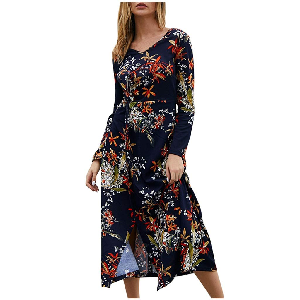 Womens Long Sleeve Maxi Dress Round Neck Floral Print Casual Tunic Long Maxi Dress Navy by Dunacifa Women Dresses