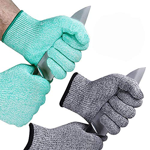 EvridWear 2-Color Combo Cut Resistant Gloves with Cut Level 5 Protection, EN388 Certified Food Grade, Strong Silicone Grip Dots, 2 Pairs Combo Deal, Lifetime Replacement (Medium, Turquoise+Gray)