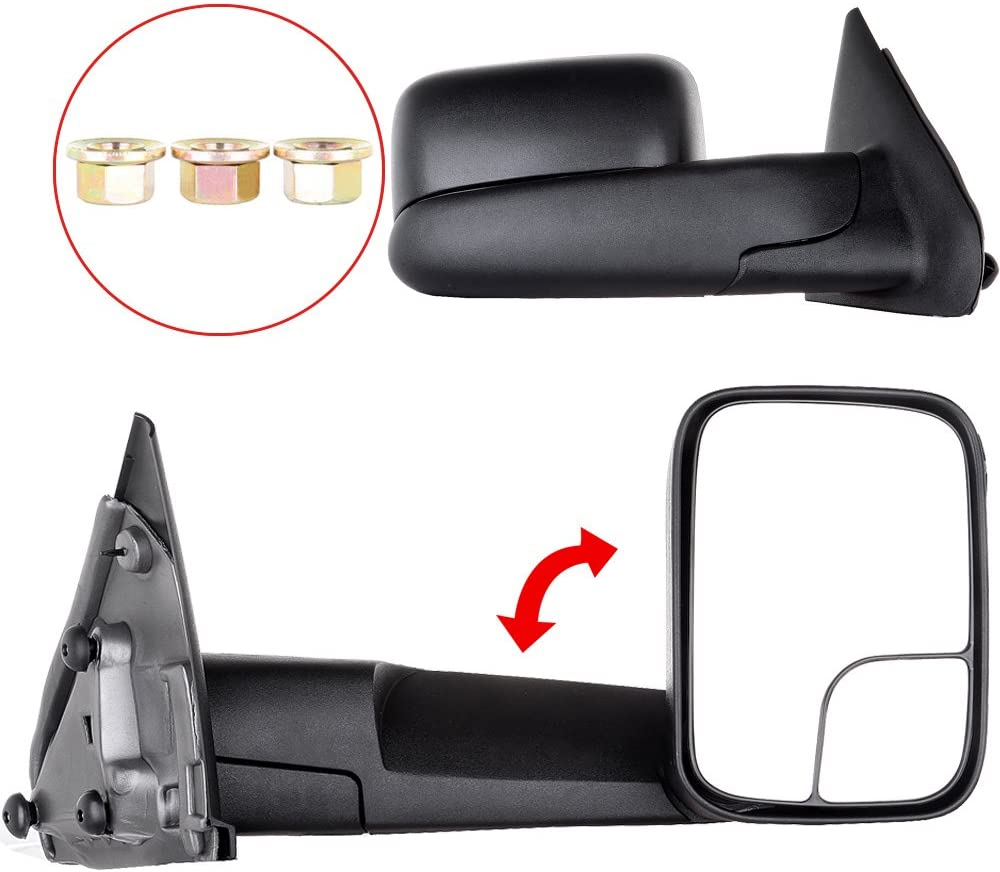 ANPART Towing Mirrors Fit for 2002-2008 Dodge Ram 1500 2003-2009 Dodge Ram 2500//3500 Tow Mirrors with A Pair LH and RH Side Manual Regulation No Heating No Turn Signal Lamp