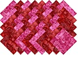 Red Printed Batik Collection 40 Precut 5-inch