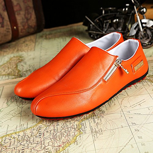 Mens moccasins slip on driving loafers wedding shoes white zip up casual office business shoes fashion White g5ah6IXg