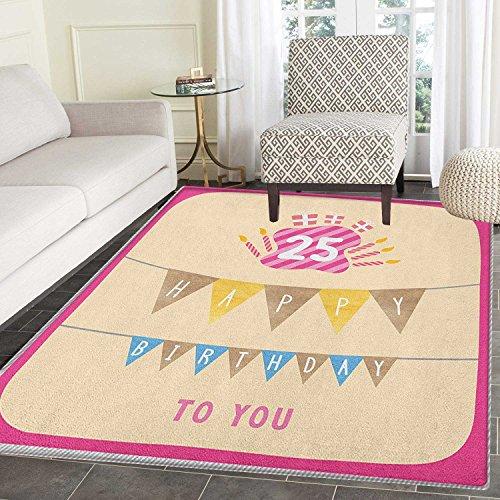 25th Birthday Rug Kid Carpet Pink Framework Cute Flags Lette