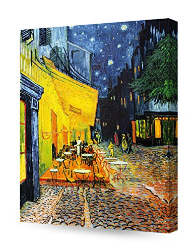 France Oil Painting (DecorArts - Cafe Terrace At Night, Vincent Van Gogh Art Reproduction. Giclee Canvas Prints Wall Art for Home Decor 20x16