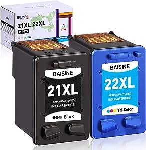 BAISINE Remanufactured Ink Cartridge Replacement for HP 21XL 22XL 21 22 for HP Officejet 4315 J3680 Deskjet 3915 3930 3940 D1341 D1420 D1455 D1520 D1530 D1560 D2330 D2430 D2460 PSC 1410 (Black Color)