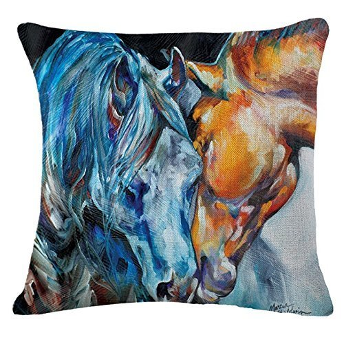 Oil Painting Horse Hand Painted Throw Pillow Case Cotton Blend Linen Cushion Cover Sofa Decorative Square 18 Inches(2)