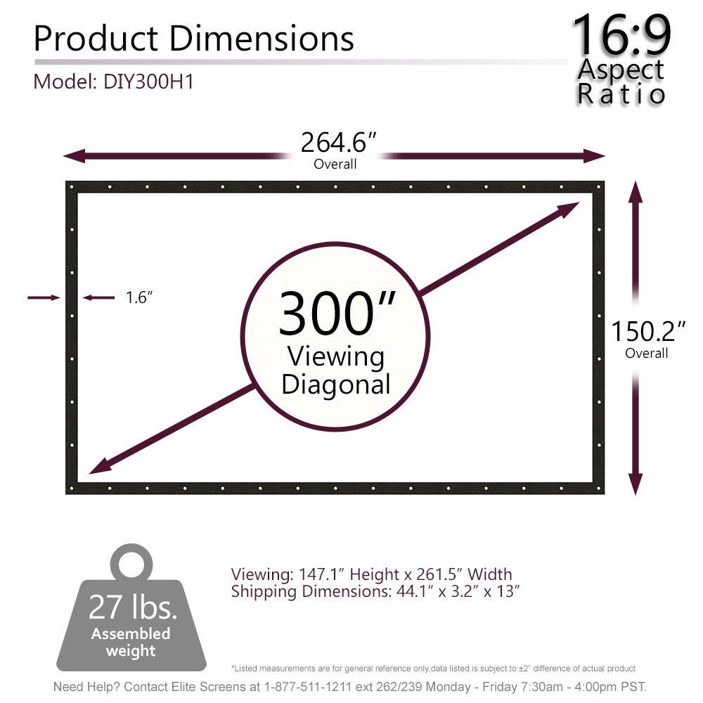 Elite Screens DIY Pro Series, 300-inch 16:9, Do-It-Yourself Indoor &  Outdoor Projection Screen, Model: DIY300H1: Amazon.in: Electronics