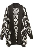 Pink Wind Women's Oversized Tribal Aztec Print Open Wrap Front Sweater Cardigan