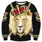 Chiclook Cool Harajuku Crewneck Shirt Lion King Wear the Crown Gold Chain Sweatshirt