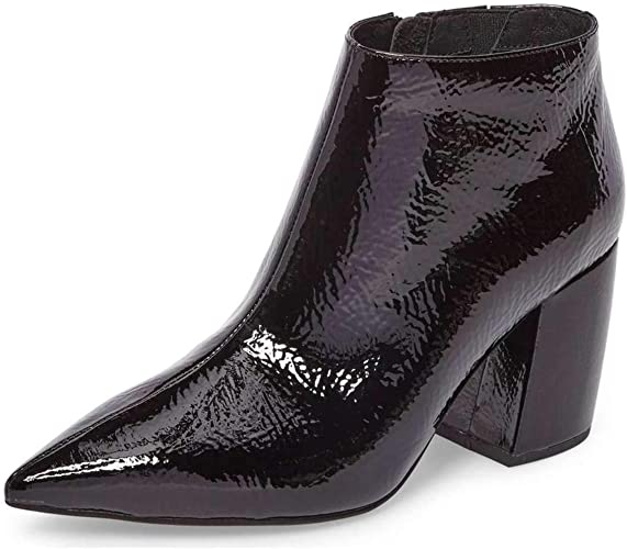 Womens Ladies Pointed Toe Ankle High Boots Zip-up Leather 3 Inch Heels Shoe Size