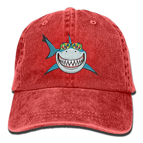 MingDe YY Shark With Colored Sunglasses Vintage Trucker Hat Washed Denim Adult Cowboy Hat Baseball - Polo Jeans Sunglasses