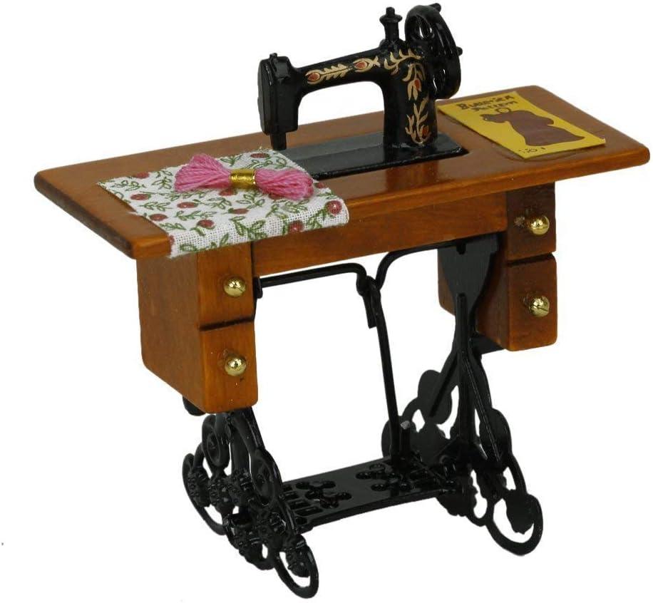 SODIAL(R) Maquina de coser miniatura de la vendimia con el pano para la escala 1/12 dollhouse decoration