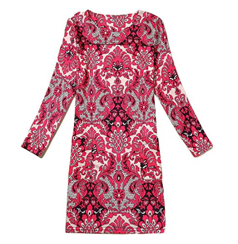 Confortables Femmes Col Rond, Plus La Taille D'impression De Couture Mi Longueur Partie Pattern13 Robe