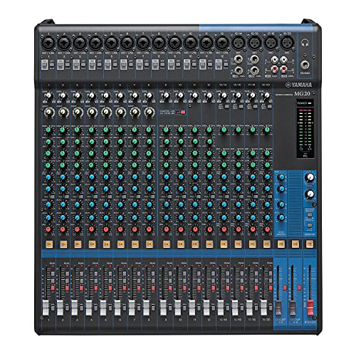 Yamaha MG20 20-channel Analog Mixer Bundle with 16 Microphone Preamps, 4 Dedicated Stereo Line Channels, 4 Aux Sends, EQ, and 1-knob Compressors and 8 Pack of Mixer Cables by Yamaha (Image #1)