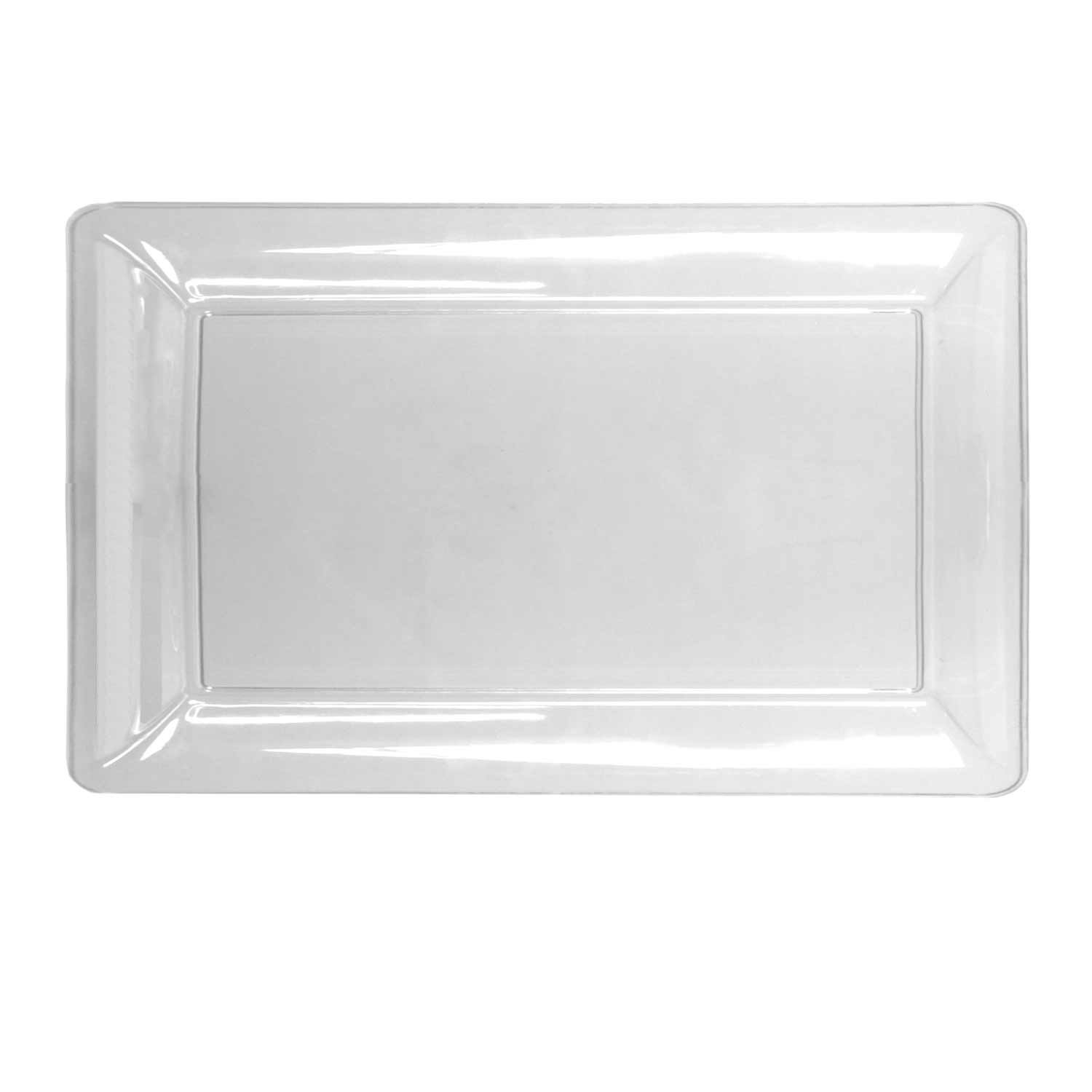 Party Essentials N121821 Heavy Duty Plastic Rectangular Tray, 12'' Length x 18'' Width, Clear (Case of 6) by Party Essentials