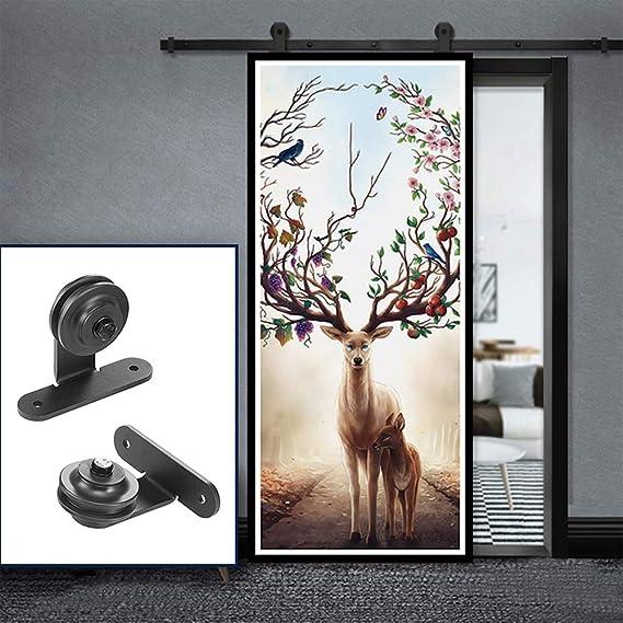 Wefun - Juego de herrajes para puerta corredera, rieles, juego de montaje para puerta corredera, paredes divisorias interiores, polipasto de acero al carbono: Amazon.es: Bricolaje y herramientas