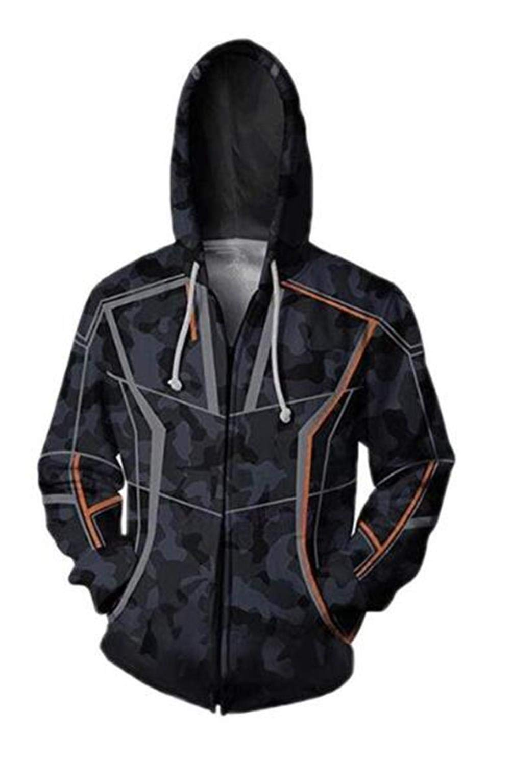 Unisex Superhero Cosplay Costume Cotton Fleece Hoodie Jacket with Zipper