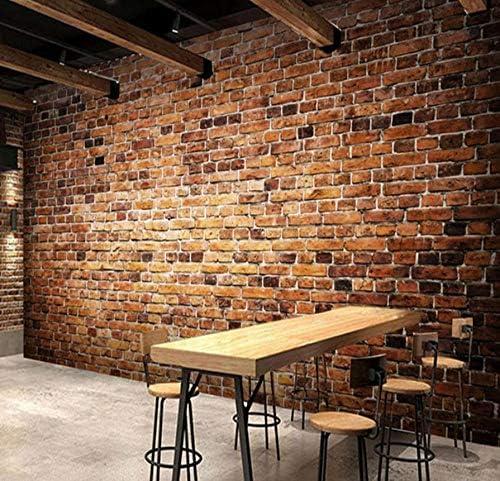 Wkxzz 壁の背景装飾画 カスタム3D写真の壁紙寝室の壁レトロ赤レンガの壁絵画壁紙ロール紙リビングルームのソファテレビ背景装飾-280X200Cm
