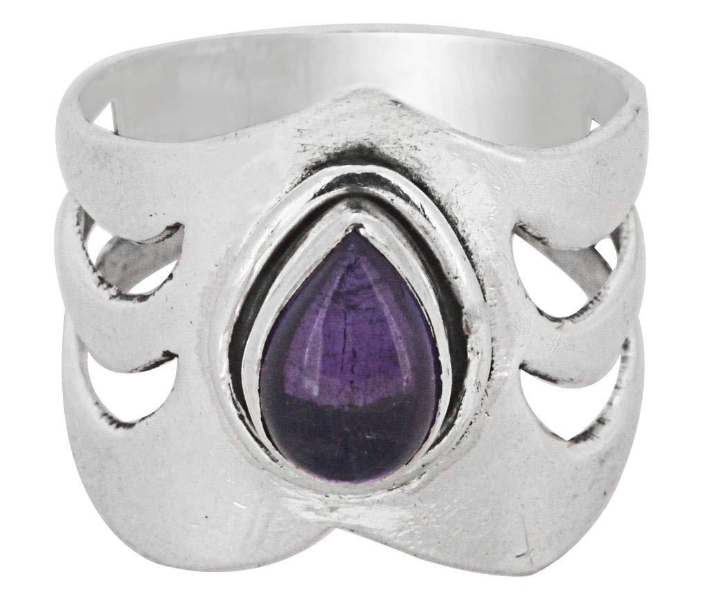 M/s Gajraj Amethyst Stone Sterling 925 Silver Ring, US-8