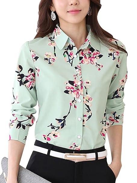08d52aaecd7 X F Women s Floral Lapel Long Sleeve Button Down Shirt Slim Fit Blouse ...