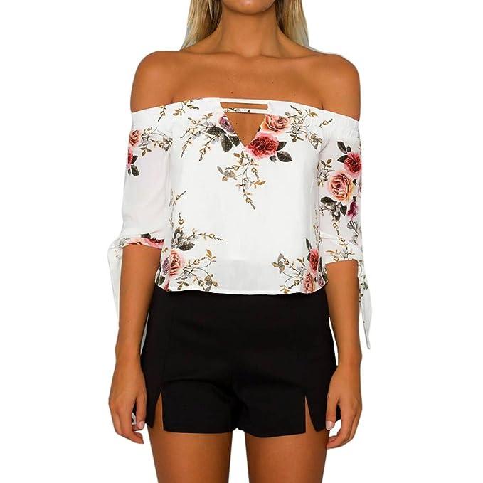 camisas de mujer,Switchali Mujer Verano casual moda gasa camisa de playa sin tirantes atractivo