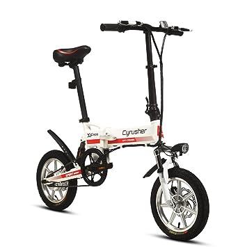Cyrusher® XF600 Bicicleta Eléctrica Blanco Rojo 240W 36V Bicicleta de Viaje Bicicleta Batería de Litio