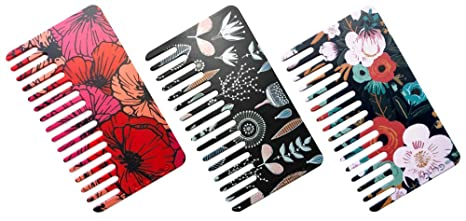 Go Comb   Wallet Sized Hair & Travel Comb   Wide Tooth   Women's Plastic 3 Pack by Go Comb