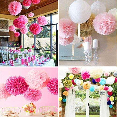 18pcs Tissue Hanging Paper Pom-poms, Flower Ball Wedding Party Outdoor Decoration Premium Tissue Paper Pom Pom Flowers Craft Kit(Pink & White)) by Nature World (Image #3)