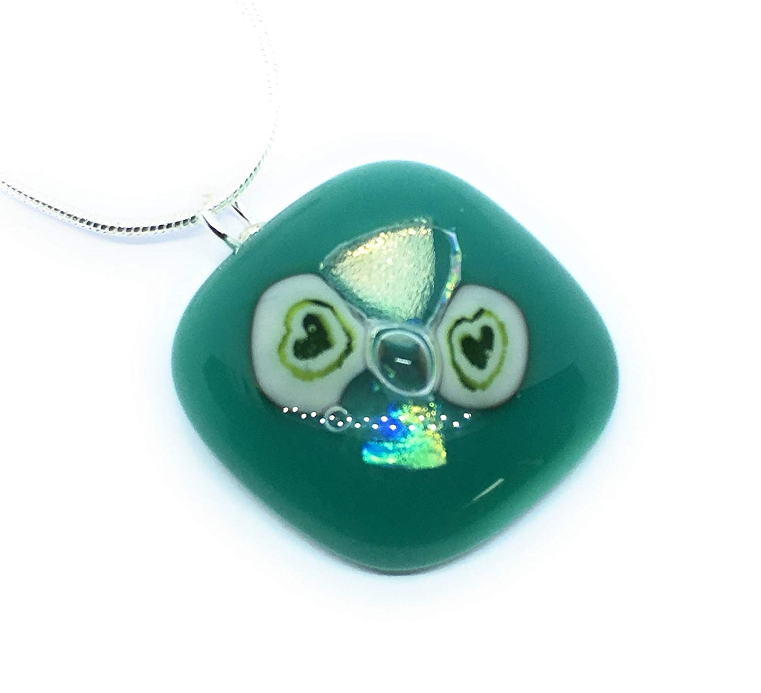 Blue Green Dichroic Glass Love Heart Pendant Solid 925 Sterling Silver Yellow