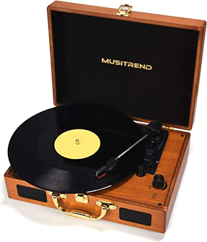 Musitrend Record Player 3-Speed Belt-Drive Turntable w// Built-in Stereo Speakers