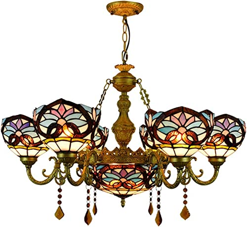 BAYCHEER Victorian Tiffany Lamp 7 Lights Stained Glass Dome Chandelier 32.68 Victorian Pendant Light Hanging Lamp Chain Adjustable Gorgeous Lighting in Blue
