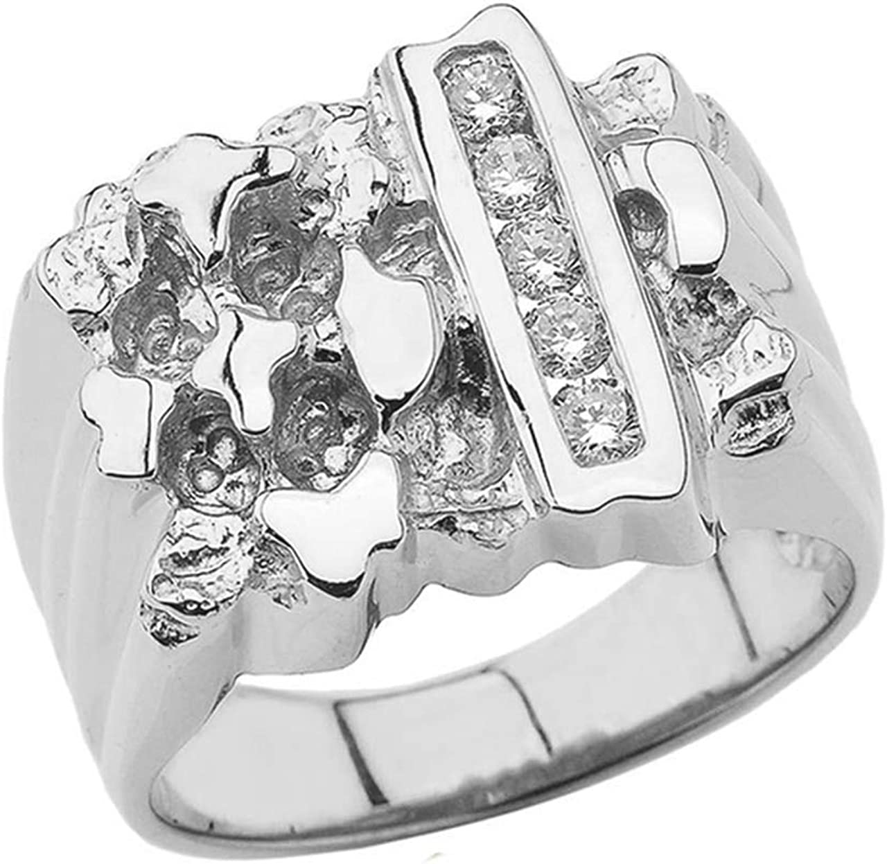 Mens Sterling Silver Rectangular Nugget Ring