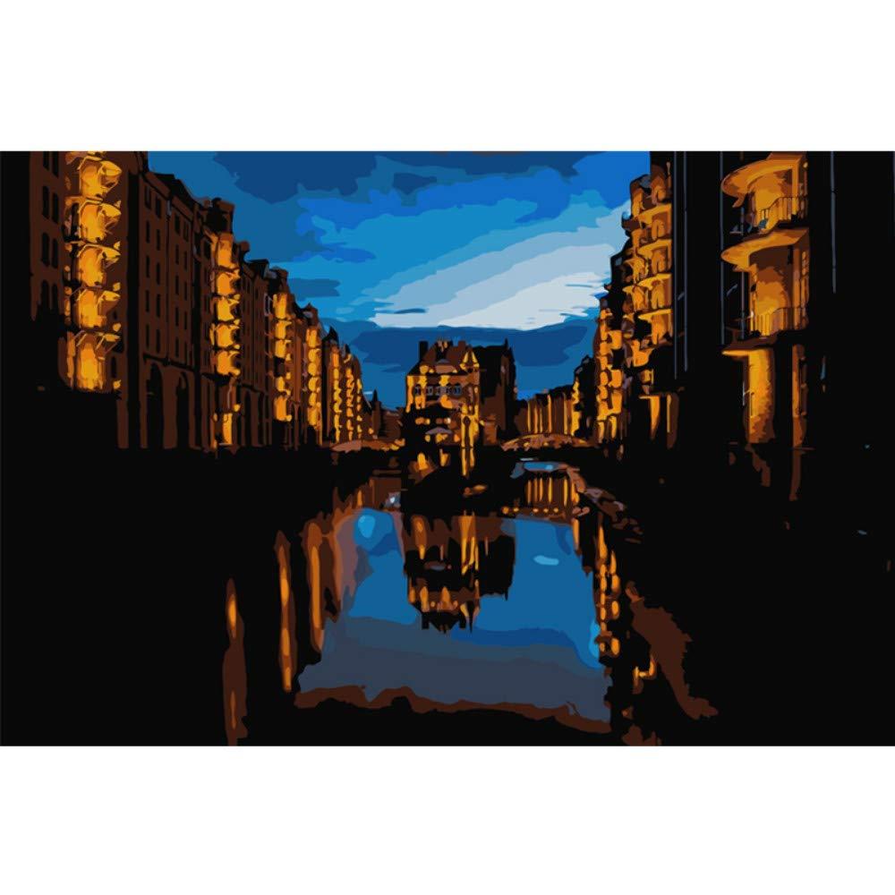 wanghan Pintura por números Shuicheng River Landscape DIY Pintura Digital por Números Arte De La Pared Moderna Pintura De La Lona Decoración del Hogar 40X50 Cm