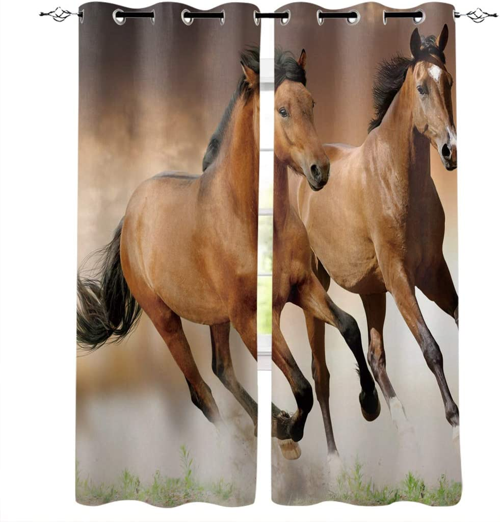 IDOWMAT Blackout Curtains for Bedroom 40x63inx2 Horse Running on The Prairie Thermal Insulated Window Curtain Drapes for Living Room Semi Sheer Room Darkening Home Decoration Curtains