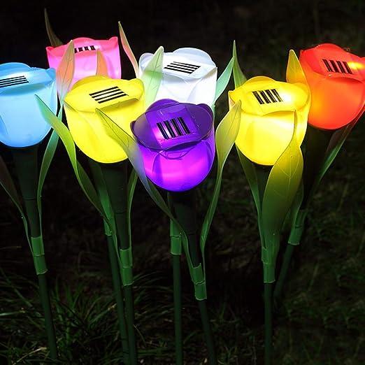 Uonlytech Luz Solar Del Jardín Tulipanes Flor Luces Solares Del Césped Luces Decorativas Al Aire Libre para La Decoración Del Patio Del Camino Del Patio Del Jardín (2 Piezas): Amazon.es: Iluminación
