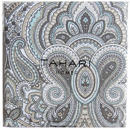 (Tahari Luxury Cotton Blend Shower Curtain Gray Turquoise Taupe Grey Taupe Large Medallions Paisley Scroll Design Mackenzie)