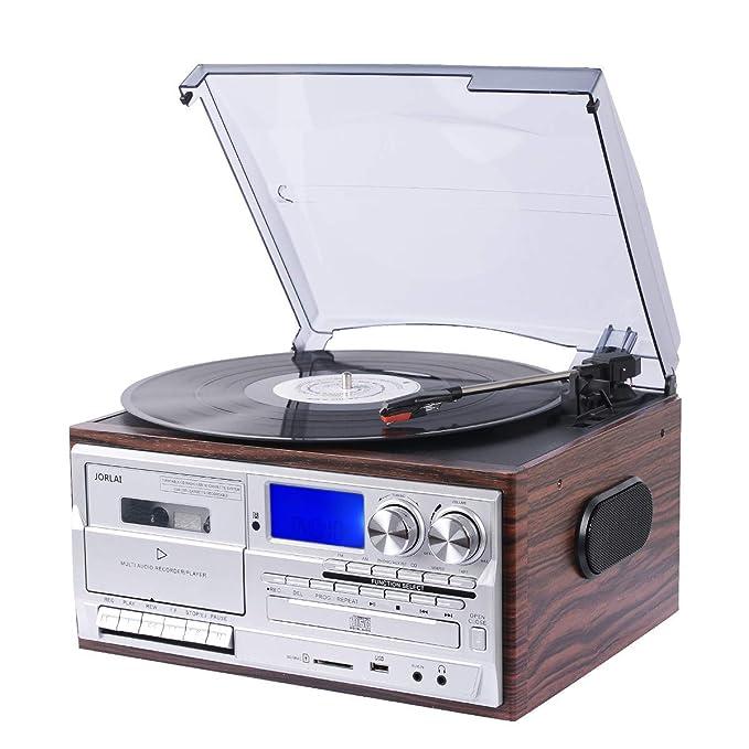 JORLAI Tocadiscos con 3 velocidades, altavoces estéreo, LCD, conversión USB/SD a MP3, casetes y reproductor de CD, radio AM/FM, salida de ...
