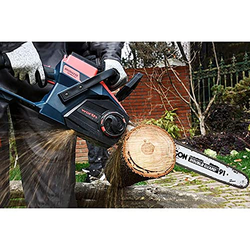 Worth 18-Inch Powerful Cordless 84-Volt Chainsaw 2.5AH Lithium Battery Auto-Oiling Tool-Free Tensioning Brushless Motor L302A00