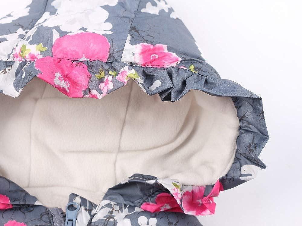 KONFA Teen Toddler Baby Girls Floral Hooded Zipper Pocket Waistcoat,Kids Outwear Warm Jacket Cloak Coat Winter Clothes