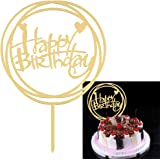 iTimo Acrylic Letter Golden Cake Top Flag, DIY Gifts Happy Birthday Cake Topper Cake Decoration Tools Cake Dessert Party…
