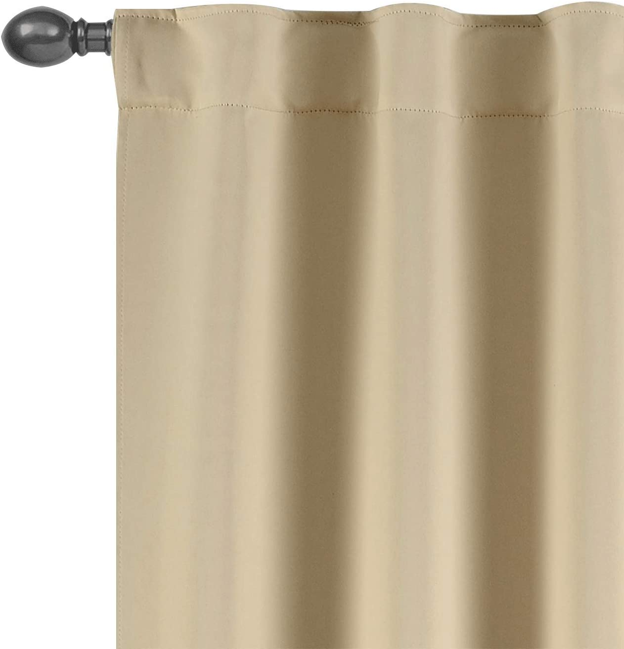 TEXPLUS Set of 2 Thermal Noise Insulated Rod Pocket and Back Tab Blackout Curtain Panels for Bedroom Beige, 52Wx95L Inches