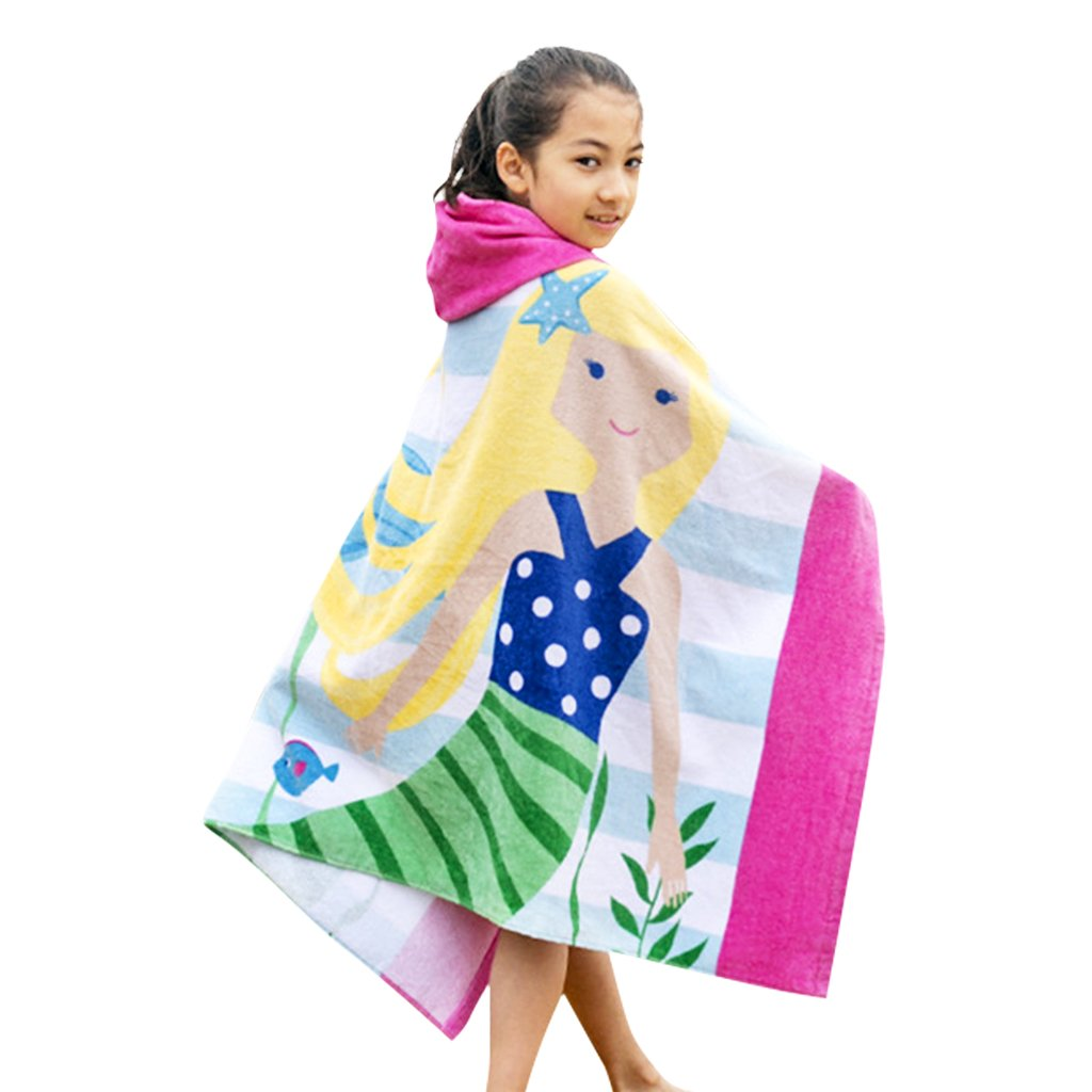 Boys Girls Hooded Poncho Beach Towel - Kids Cotton Bathrobe Swim Bath Blanket