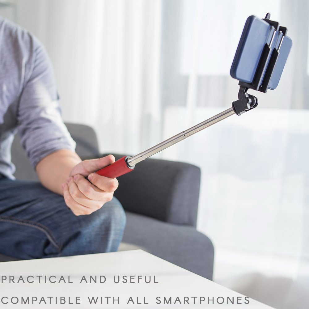 Amazon.com: iWorld Red Selfie Stick Self-portrait Extendable Monopod with Built-in Shutter Release Button Collapsible Design for Most Smartphones: Cell ...