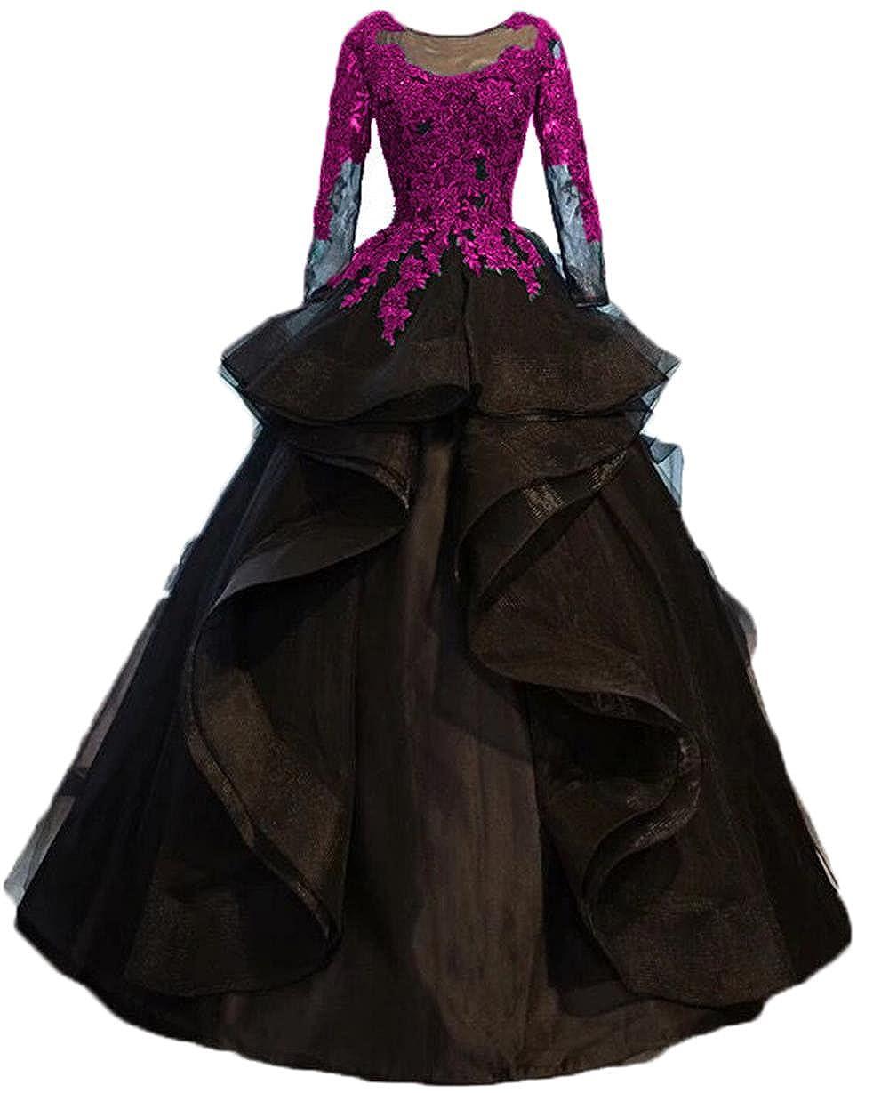 Hot Pink Dydsz Evening Party Dresses for Women Wedding Long Sleeve Formal Dress Ball Gown D264
